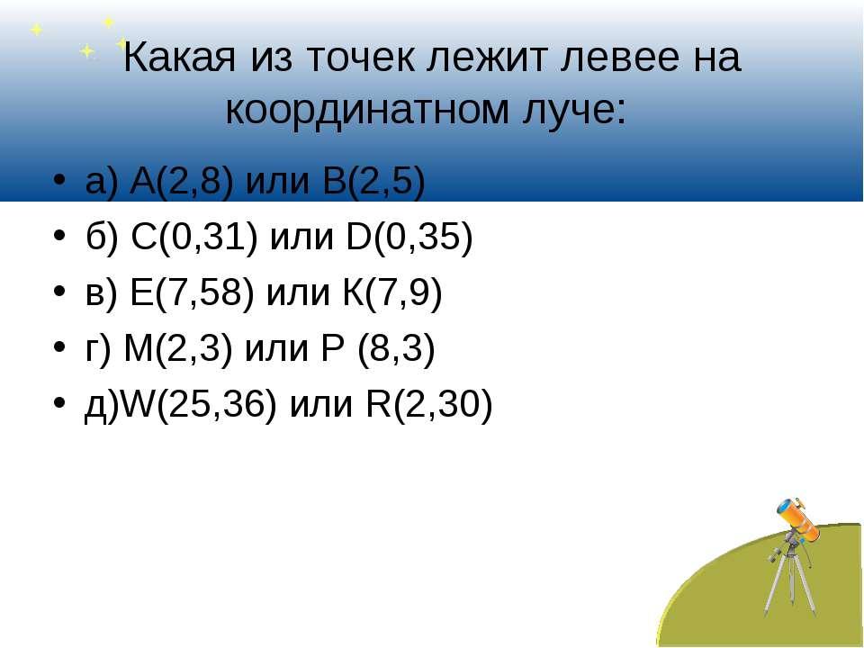 Какая из точек лежит левее на координатном луче: а) А(2,8) или В(2,5) б) С(0,...