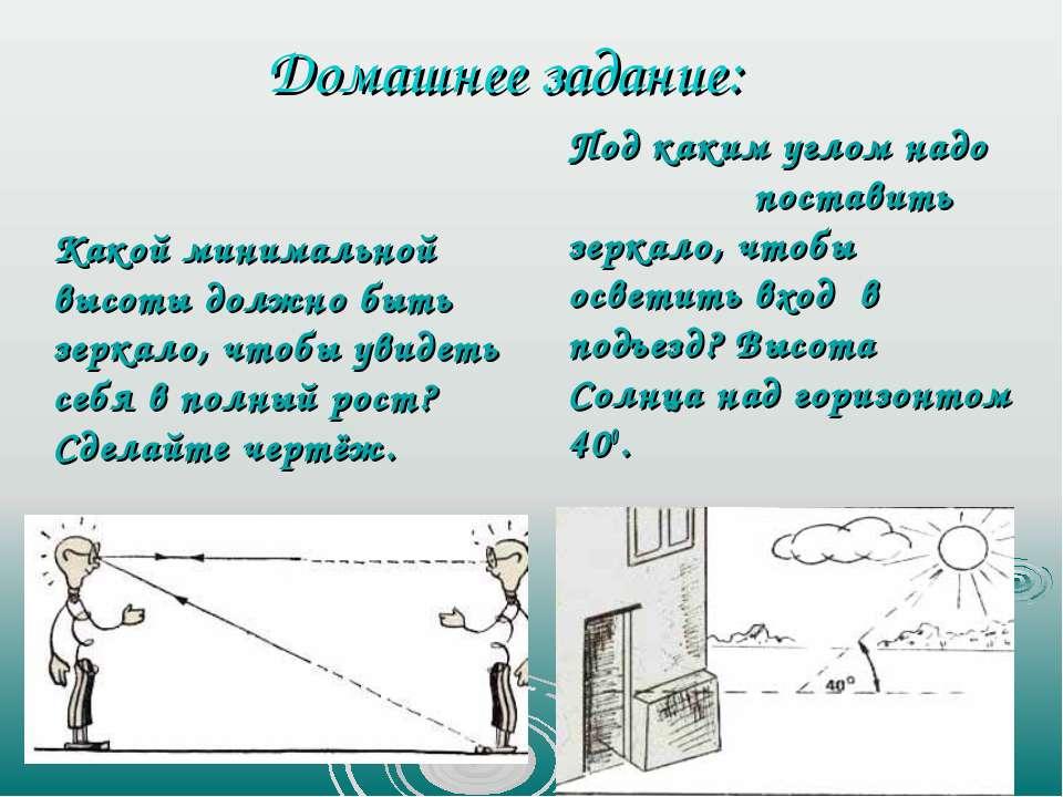 Домашнее задание: Какой минимальной высоты должно быть зеркало, чтобы увидеть...