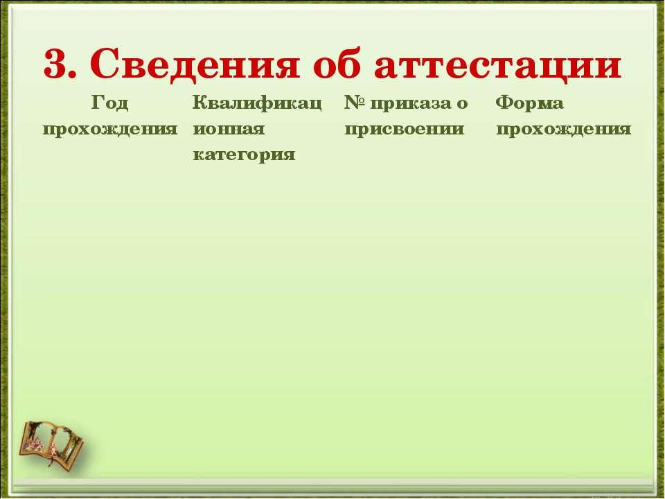 3. Сведения об аттестации Год прохождения Квалификационная категория № приказ...