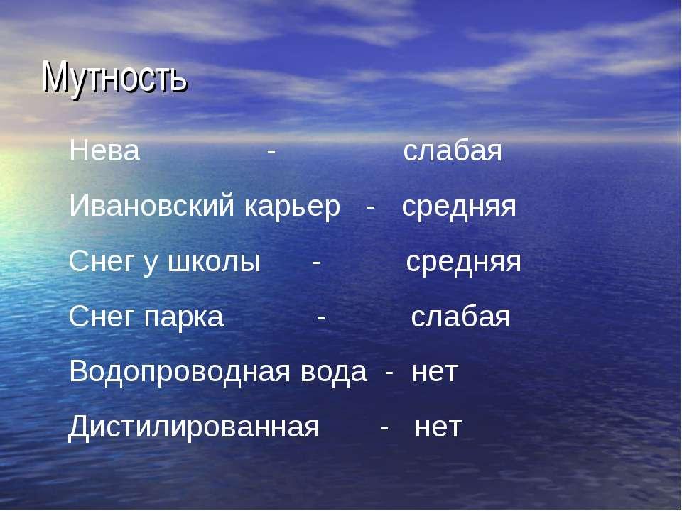 Мутность Нева - слабая Ивановский карьер - средняя Снег у школы - средняя Сне...