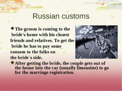 Russian customs The groom is coming to the bride's home with his closest frie...