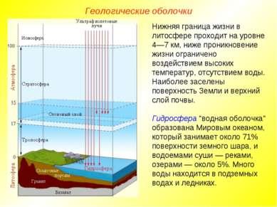 Геологические оболочки Нижняя граница жизни в литосфере проходит на уровне 4—...