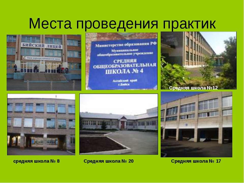 Места проведения практик средняя школа № 8 Средняя школа №12 Средняя школа № ...
