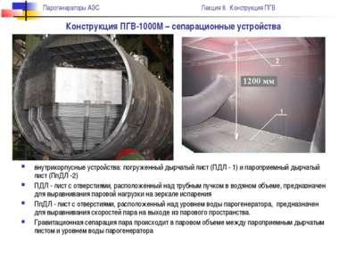 Конструкция ПГВ-1000М – сепарационные устройства внутрикорпусные устройства: ...