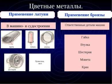 Цветные металлы. Применение бронзы Применение латуни В машино- и судостроении...