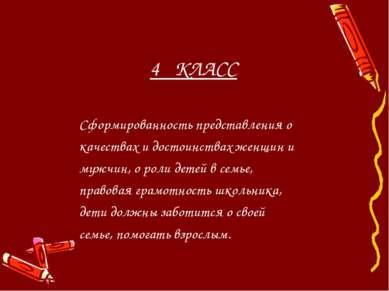 4 КЛАСС Сформированность представления о качествах и достоинствах женщин и му...