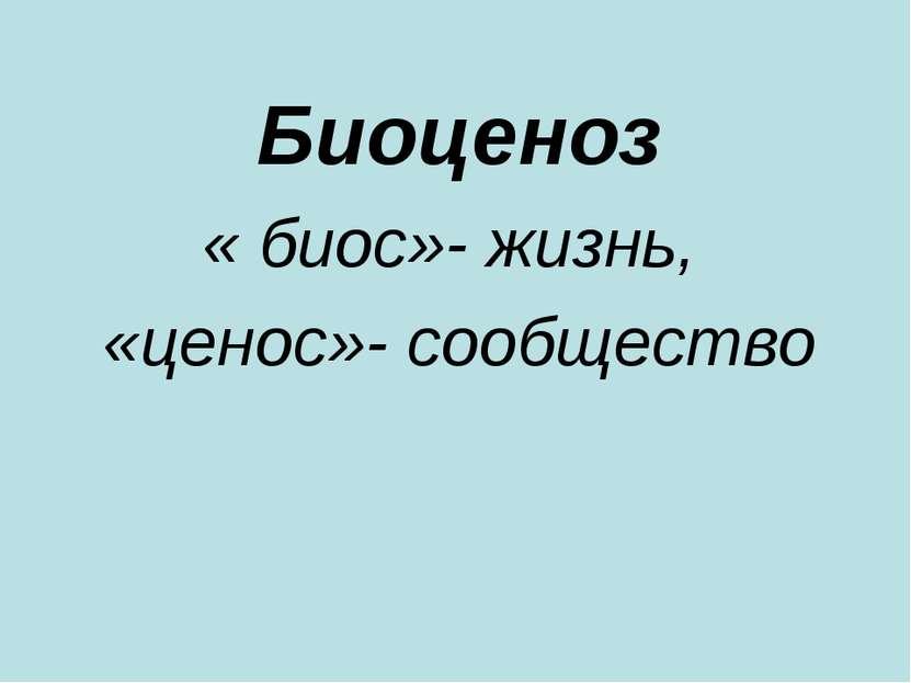 Биоценоз « биос»- жизнь, «ценос»- сообщество
