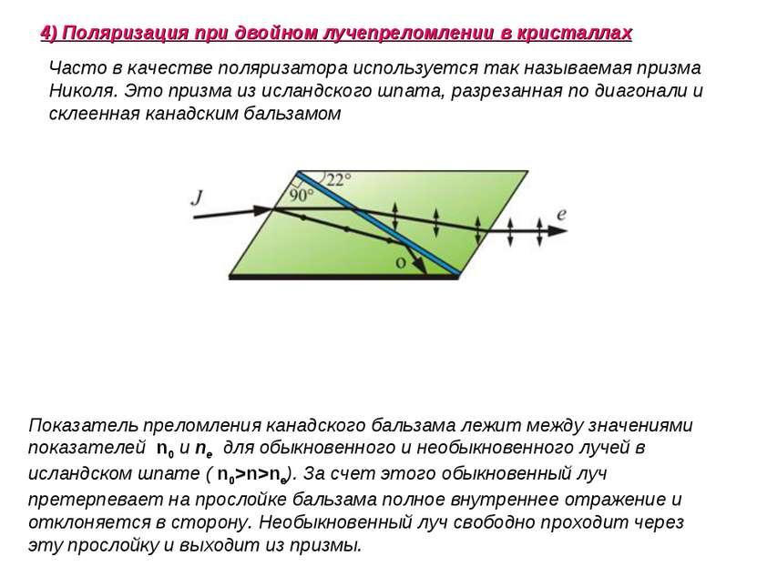 Часто в качестве поляризатора используется так называемая призма Николя. Это ...