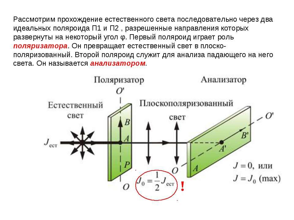 Рассмотрим прохождение естественного света последовательно через два идеальны...