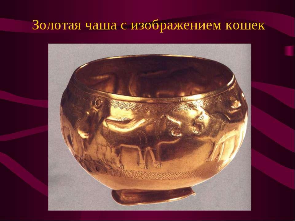 Золотая чаша с изображением кошек