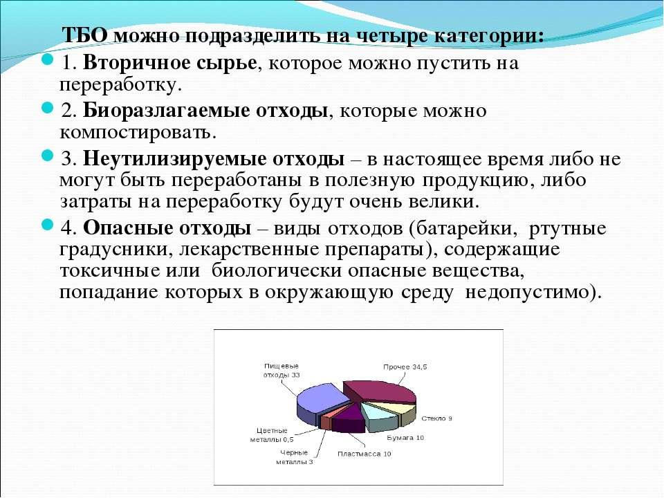 ТБО можно подразделить на четыре категории: 1. Вторичное сырье, которое можно...