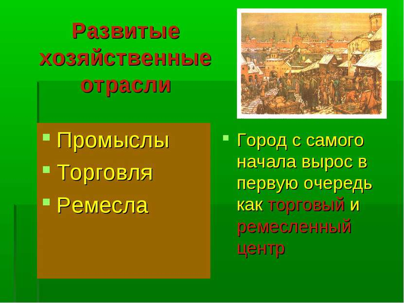Развитые хозяйственные отрасли Промыслы Торговля Ремесла Город с самого начал...