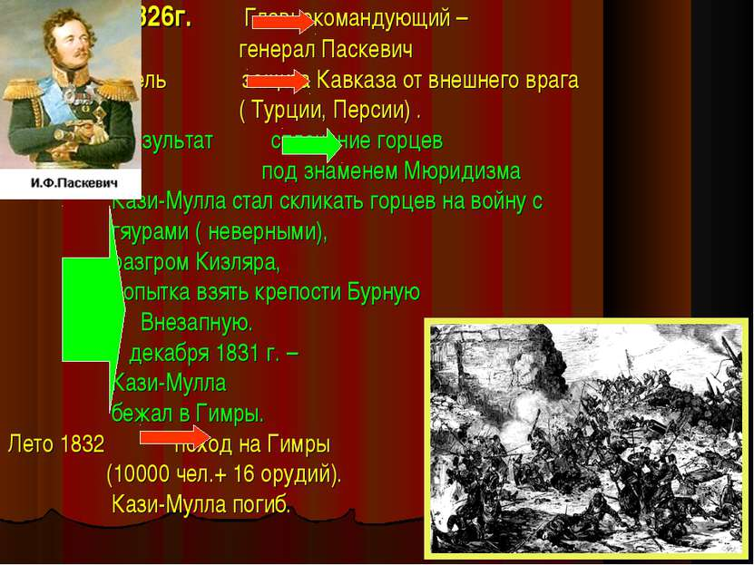 1826г. Главнокомандующий – генерал Паскевич Цель защита Кавказа от внешнего в...