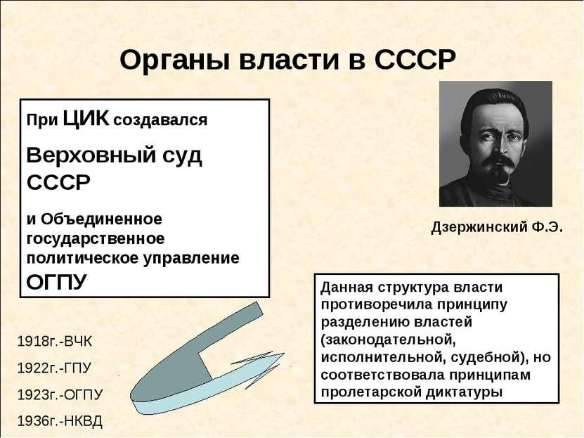 Органы власти в СССР При ЦИК создавался Верховный суд СССР и Объединенное гос...