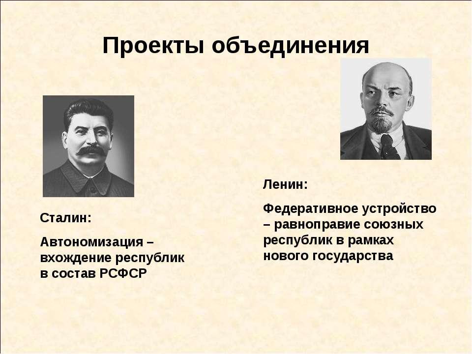 Проекты объединения Ленин: Федеративное устройство – равноправие союзных респ...
