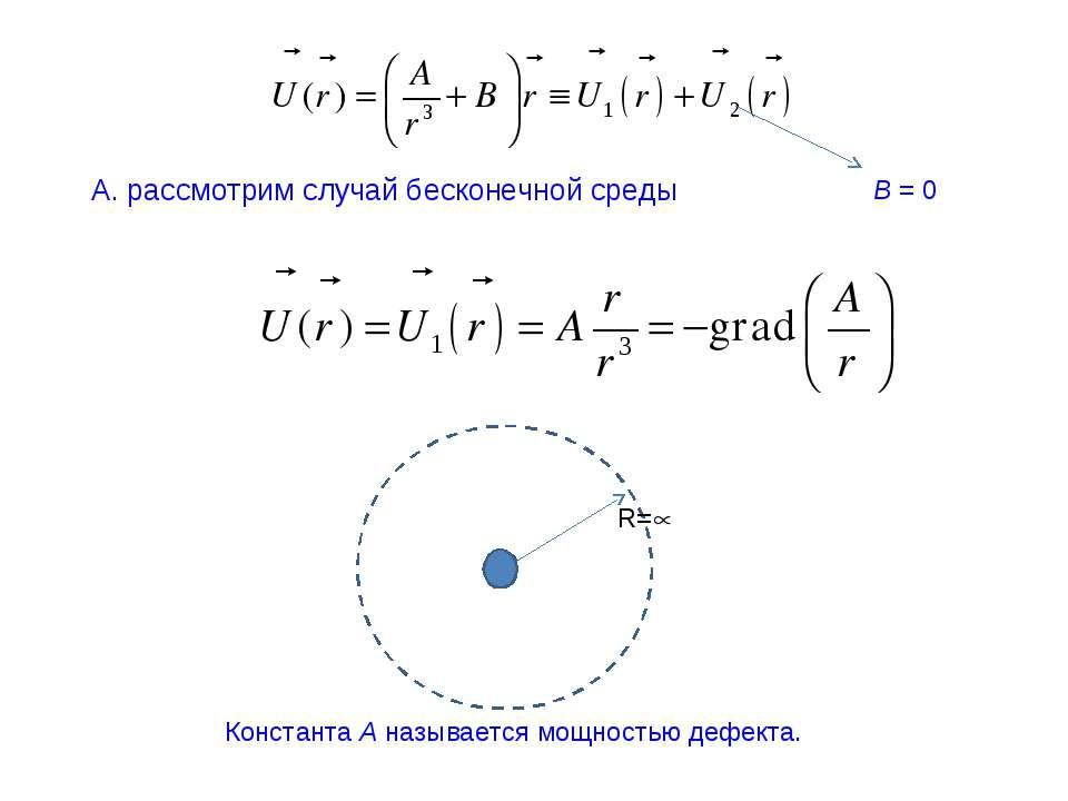 А. рассмотрим случай бесконечной среды B = 0 R= Константа A называется мощнос...