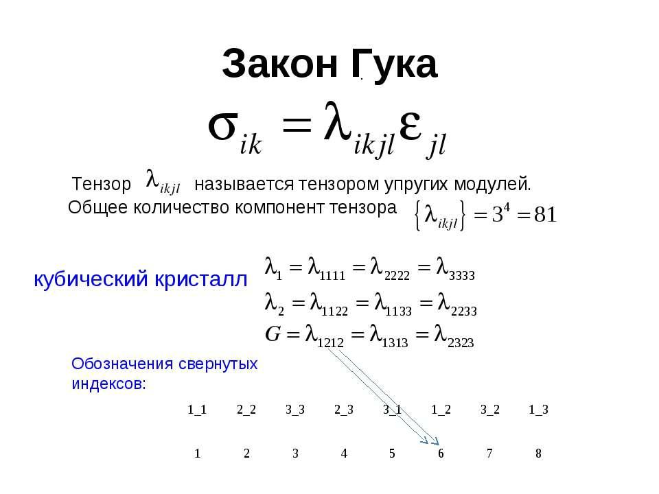Закон Гука Тензор называется тензором упругих модулей. Общее количество компо...