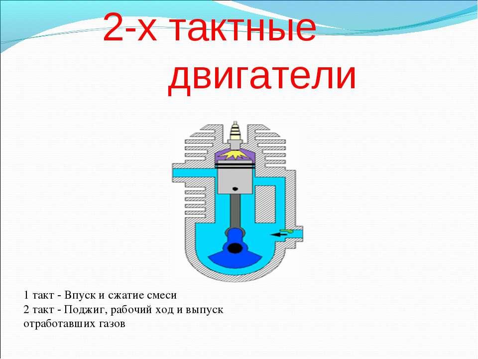 2-х тактные двигатели 1 такт - Впуск и сжатие смеси 2 такт - Поджиг, рабочий ...