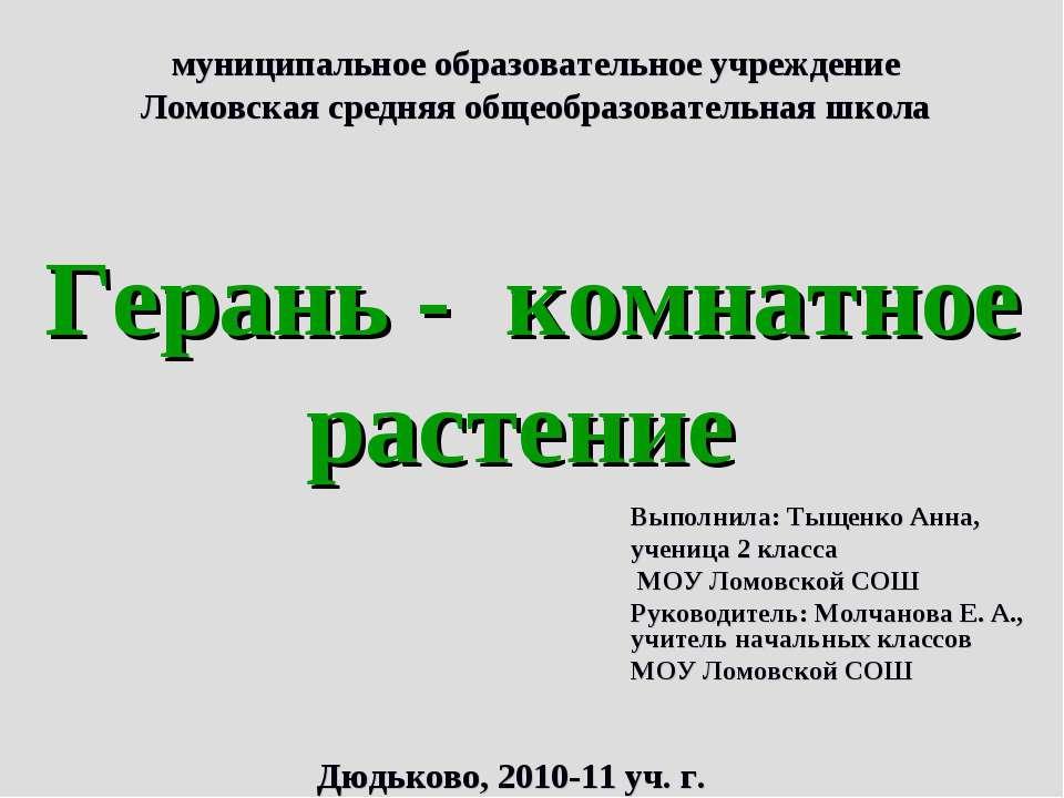 муниципальное образовательное учреждение Ломовская средняя общеобразовательна...