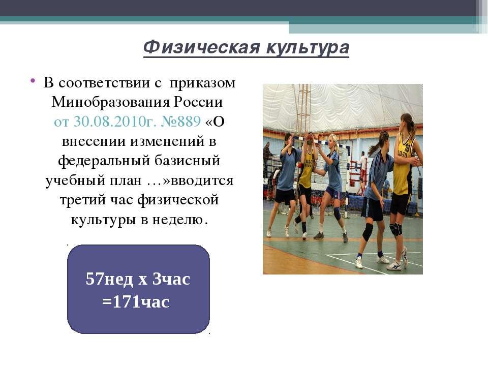 Физическая культура В соответствии с приказом Минобразования России от 30.08....