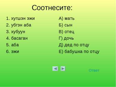 Соотнесите: Ответ 1. хугшэн эжи А) мать 2. убгэн аба Б) сын 3. хубуун В) отец...