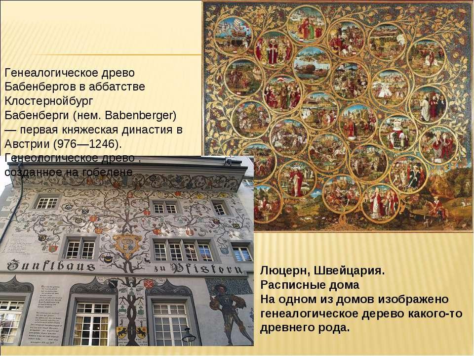 Люцерн, Швейцария. Расписные дома На одном из домов изображено генеалогическо...