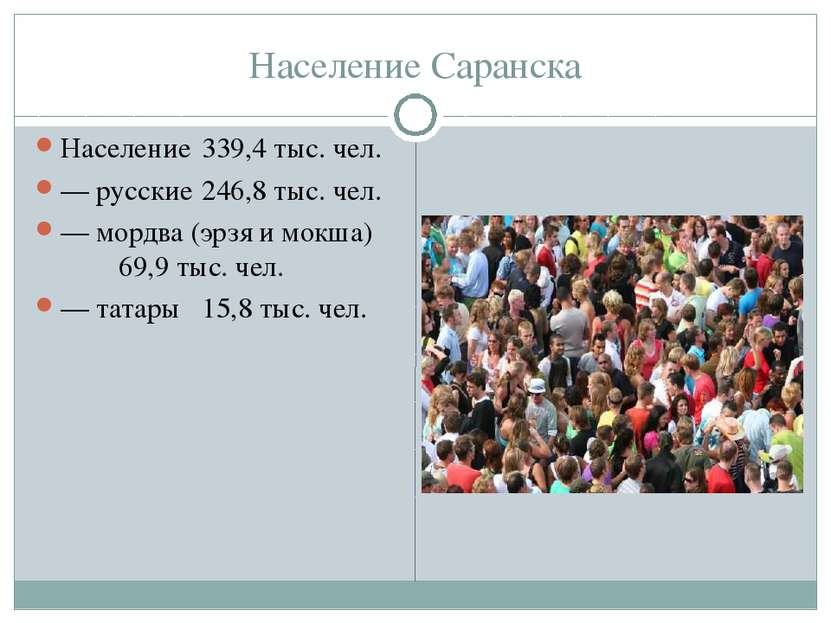 Население Саранска Население 339,4 тыс. чел. — русские 246,8 тыс. чел. — морд...