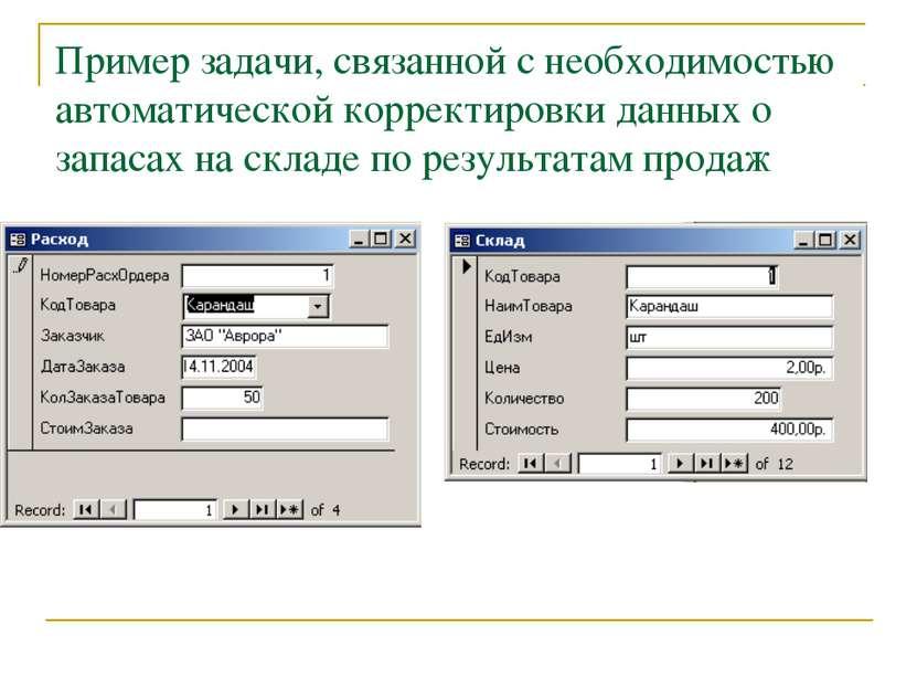 Пример задачи, связанной с необходимостью автоматической корректировки данных...