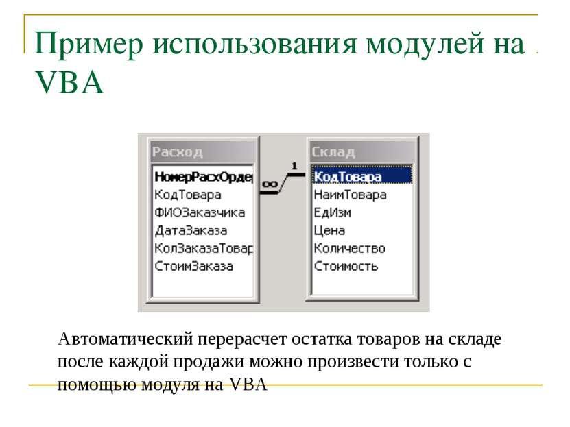 Пример использования модулей на VBA Автоматический перерасчет остатка товаров...