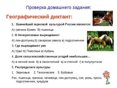 Проверка домашнего задания: Географический диктант: Важнейшей зерновой культу...