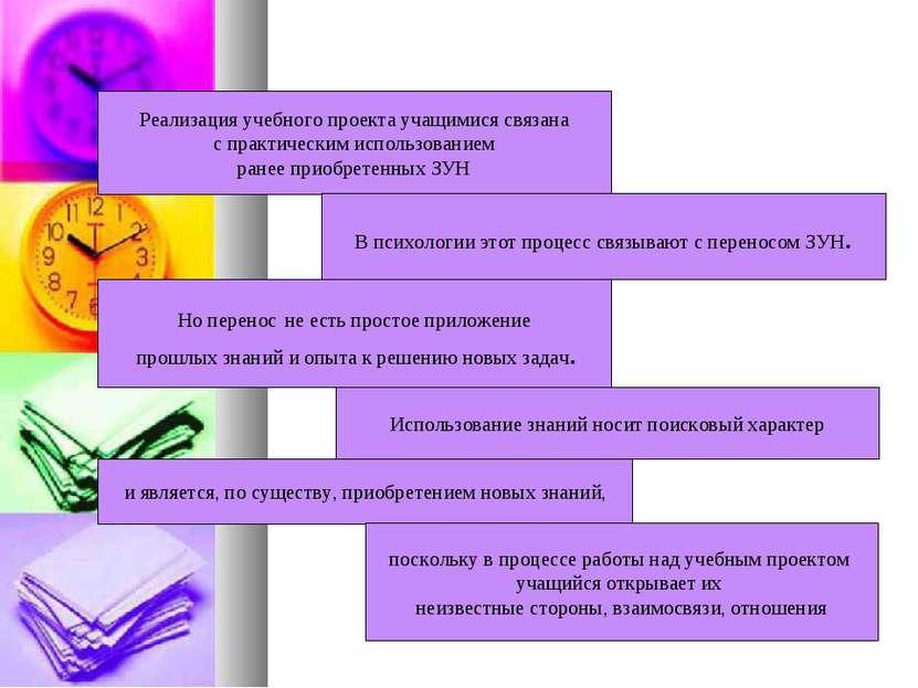 Реализация учебного проекта учащимися связана с практическим использованием р...