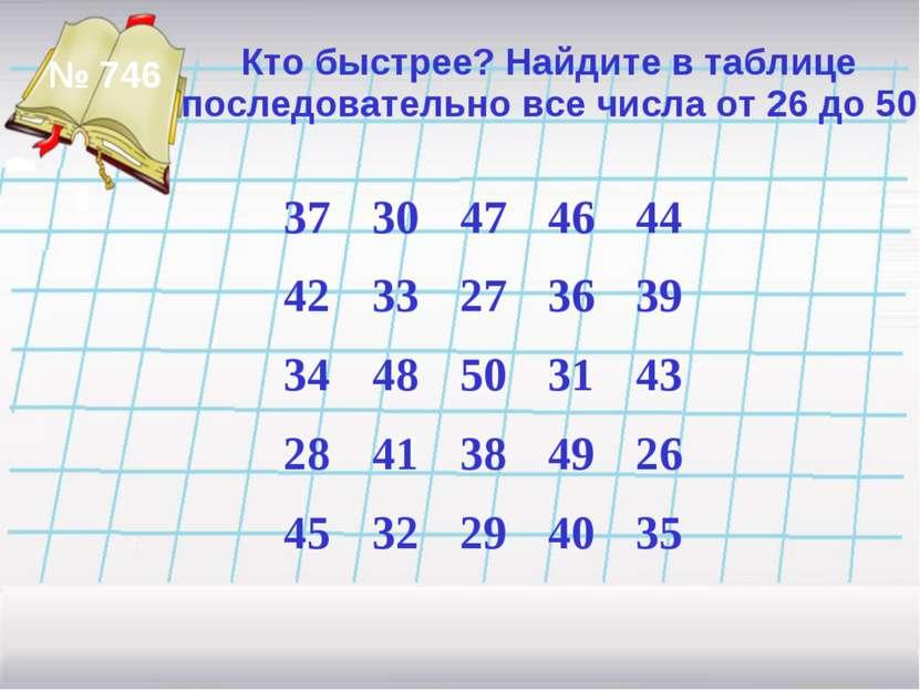 Кто быстрее? Найдите в таблице последовательно все числа от 26 до 50 № 746