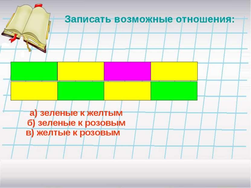 Записать возможные отношения: а) зеленые к желтым б) зеленые к розовым в) жел...