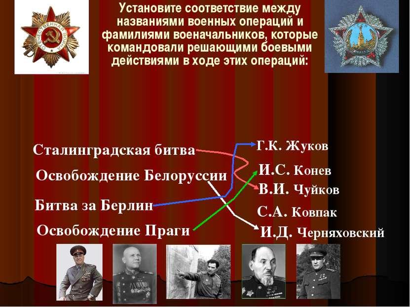 Установите соответствие между названиями военных операций и фамилиями военача...