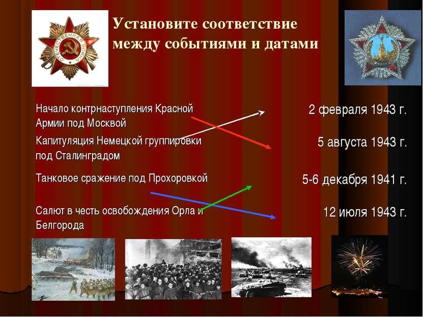 Установите соответствие между событиями и датами Начало контрнаступления Крас...