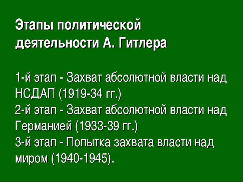 Этапы политической деятельности А. Гитлера 1-й этап - Захват абсолютной власт...