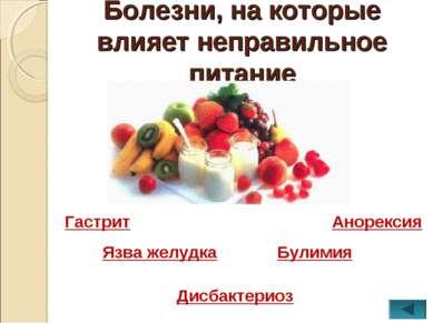 Болезни, на которые влияет неправильное питание Гастрит Язва желудка Дисбакте...