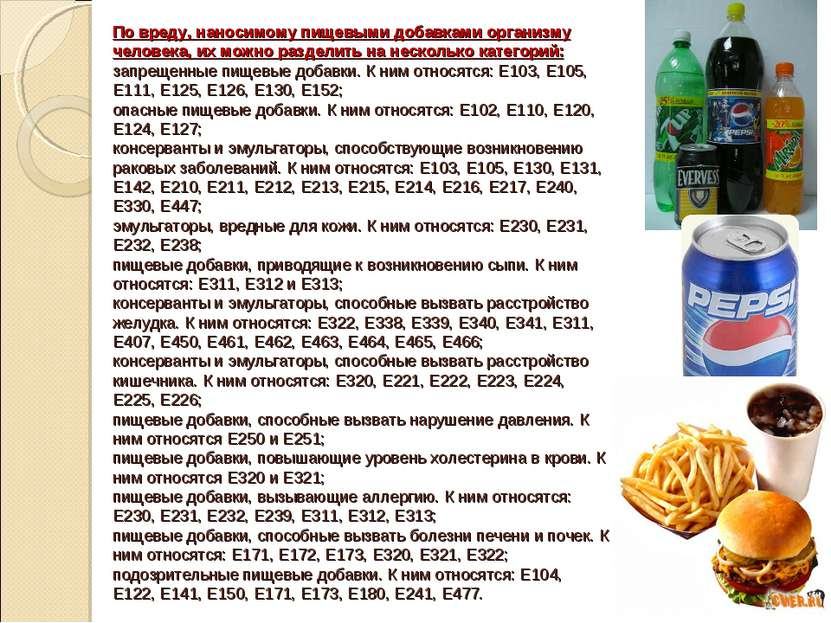 Виды пищевых добавок