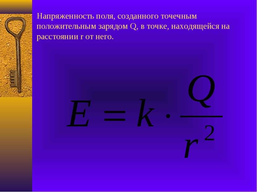 Напряженность поля, созданного точечным положительным зарядом Q, в точке, нах...