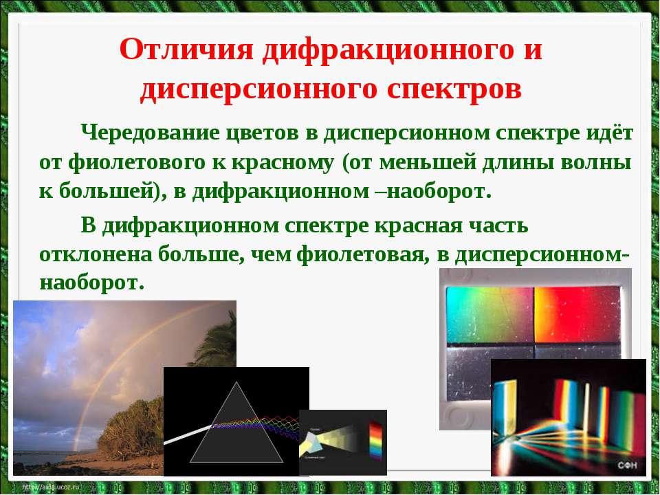 Отличия дифракционного и дисперсионного спектров Чередование цветов в дисперс...