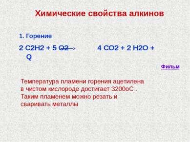 1. Горение 2 С2Н2 + 5 О2 4 СО2 + 2 Н2О + Q Химические свойства алкинов Темпер...