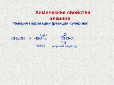 Реакция гидратации (реакция Кучерова) СНΞСН + Н2О СН3-С Hg2+ H2SO4 уксусный а...