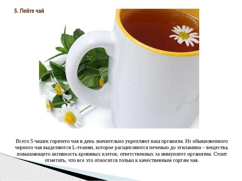 Всего 5 чашек горячего чая в день значительно укрепляют ваш организм. Из обык...
