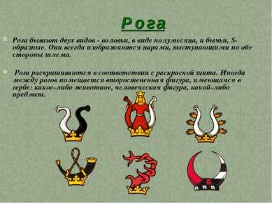Р о г а Рога бывают двух видов - воловьи, в виде полумесяца, и бычьи, S-образ...