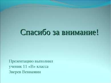 Спасибо за внимание! Презентацию выполнил ученик 11 «В» класса Зверев Вениамин