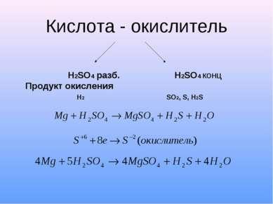 Кислота - окислитель H2SO4 разб. H2SO4 конц Продукт окисления H2 SO2, S, H2S