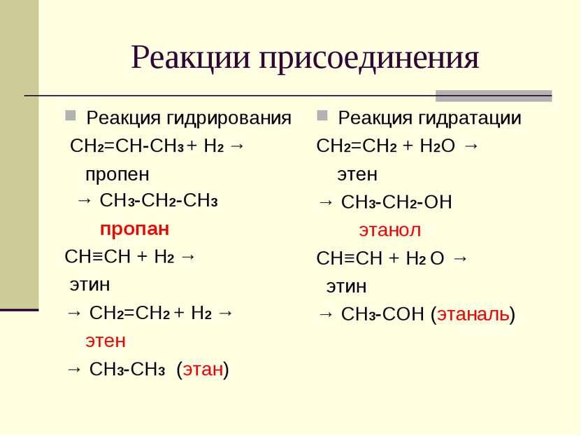 Реакции присоединения Реакция гидрирования СH2=CH-CH3 + H2 → пропен → CH3-CH2...