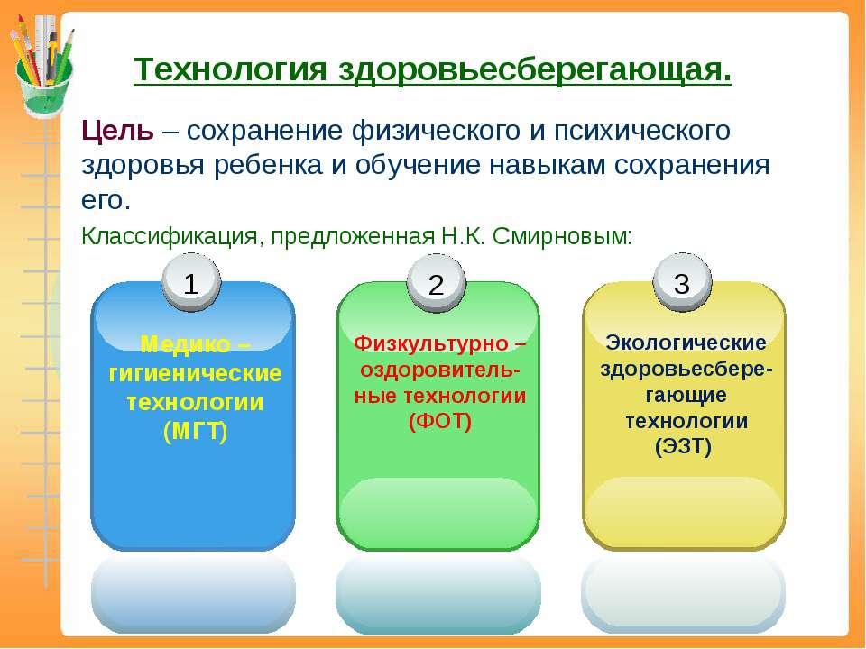 Технология здоровьесберегающая. Цель – сохранение физического и психического ...