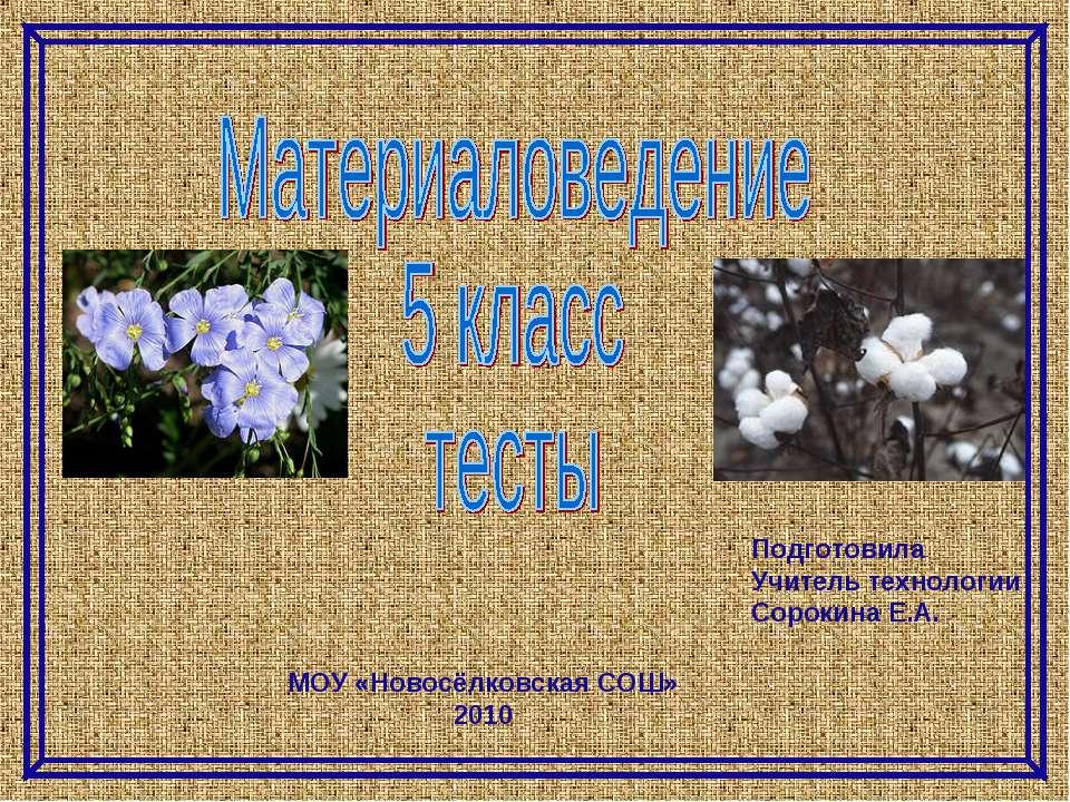 МОУ «Новосёлковская СОШ» 2010 Подготовила Учитель технологии Сорокина Е.А.