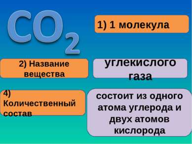 1) 1 молекула 2) Название вещества углекислого газа 4) Количественный состав ...